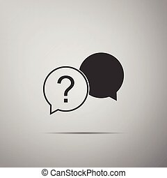 Chat question icon isolated on grey background. Help speech bubble symbol. FAQ sign. Question mark sign. Flat design. Vector Illustration