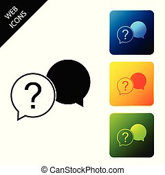 Chat question icon isolated on white background. Help speech bubble symbol. FAQ sign. Question mark sign. Set icons colorful square buttons. Vector Illustration