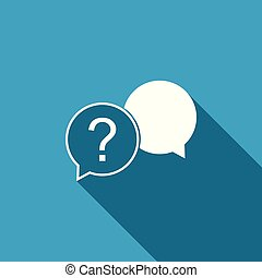 Chat question icon isolated with long shadow. Help speech bubble symbol. FAQ sign. Question mark sign. Flat design. Vector Illustration