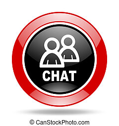 chat red and black web glossy round icon