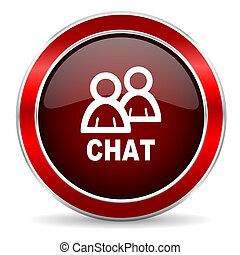 chat red circle glossy web icon, round button with metallic border