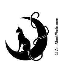 chat repos, gracieux, élégant, lune