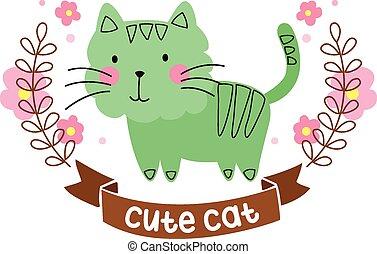chat, retro, dessin animé