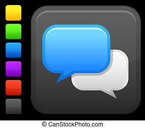 chat room icon on square internet button - Original vector ...