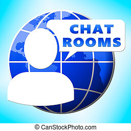 Chat Rooms Showing Internet Messages 3d Illustration