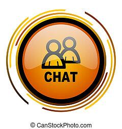 chat round design orange glossy web icon