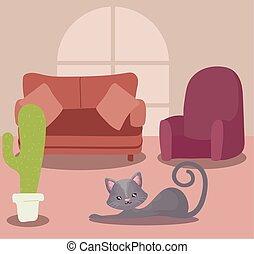 chat, salle de séjour, mignon