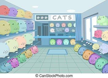 chat, salle, dessin animé, magasin