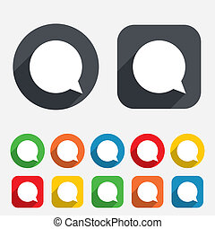 Chat sign icon. Speech bubble symbol. Communication chat bubbles. Circles and rounded squares 12 buttons. Vector