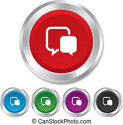 Chat sign icon. Speech bubbles symbol.