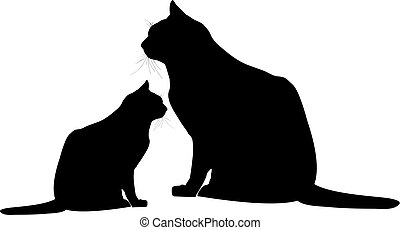 chat, silhouette, chaton