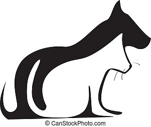 chat, silhouettes, chien, logo