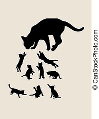 chat, silhouettes