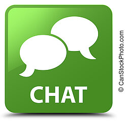 Chat soft green square button