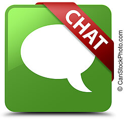 Chat soft green square button red ribbon in corner