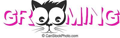 chat, soins personnels, chouchou, silhouette, museau