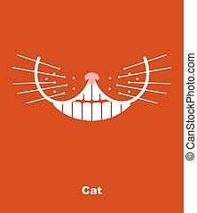 chat, sourire, whiskers., vecteur, arrière-plan., rouges, illustration., dents