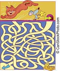 chat, souris, puzzle, enfants