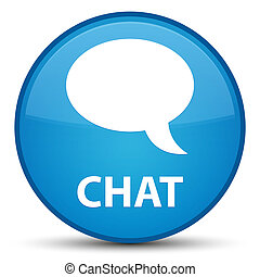 Chat special cyan blue round button