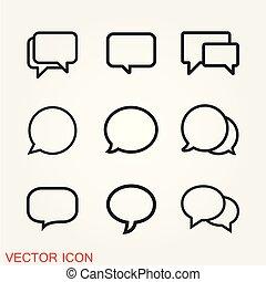 Chat Speech Bubble Icon Vector Logo Template