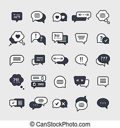 Chat symbols black glyph icons vector set