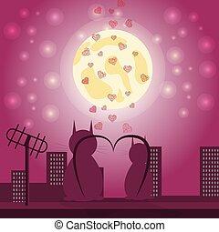 chat, toit, girl, contre, lune, 1, séance, garçon, cœurs, ville, aimer, regarder