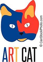 chat, vecteur, illustration, art