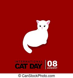 chat, vecteur, illustration, blanc