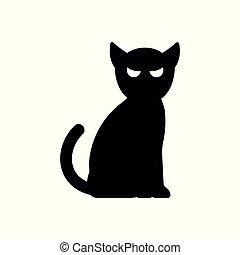 chat, vecteur, illustration., icône