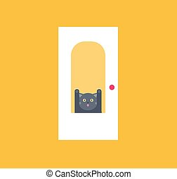 chat, vecteur, porte, behid
