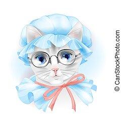 chat, vendange, lunettes, portrait