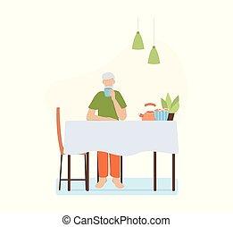 chat, vieux, couple, armchair., séance, dame, regarder