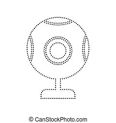 Chat web camera sign. Vector. Black dotted icon on white background. Isolated.