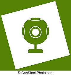 Chat web camera sign. Vector. White icon obtained as a result of subtraction rotated square and path. Avocado background.
