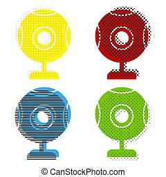 Chat web camera sign. Vector. Yellow, red, blue, green icons wit