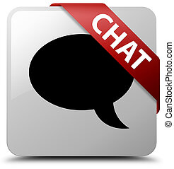 Chat white square button red ribbon in corner