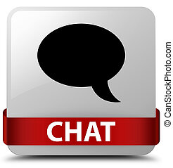Chat white square button red ribbon in middle