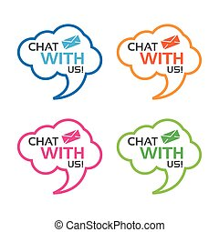 Chat with us icon with envelope