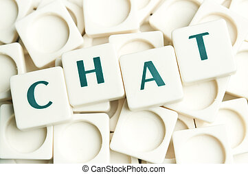 Chat word made by leter pieces