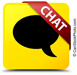 Chat yellow square button red ribbon in corner