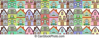 chata, próbka, seamless, barwny, domy