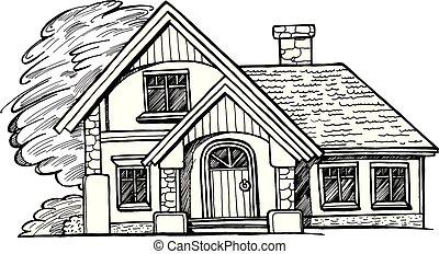 chata, rys, czarnoskóry, biały