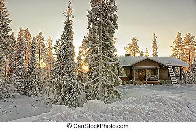 chata, w, śnieżny, zima, las, na, zachód słońca