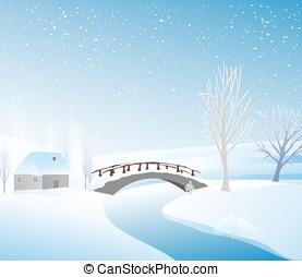 chata, zima krajobraz