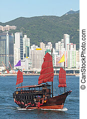 chatarra, barco, en, hong kong
