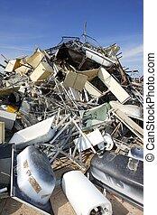 chatarra, fábrica, ambiente, ecológico, reciclar