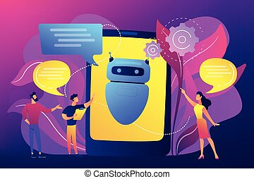 Business people communicate with chatbot application. Chatbot artificial intelligence, talkbots service, interactive agent support concept. Bright vibrant violet vector isolated illustration