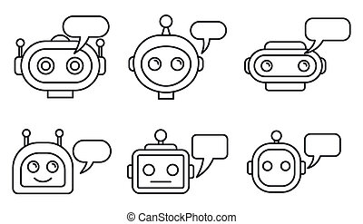 Chatbot ai icons set. Outline set of chatbot ai icons for web design isolated on white background
