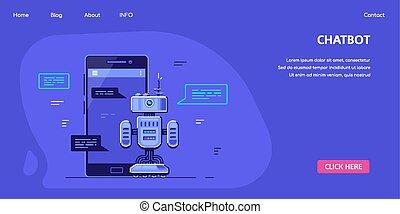 Chatbot Banner Concept Design, Stock Vector Illustration