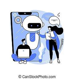 chatbot, concepto, illustration., resumen, desarrollo, ...
